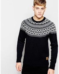Jack jones knitted sweater with fair isle yoke medium 360995