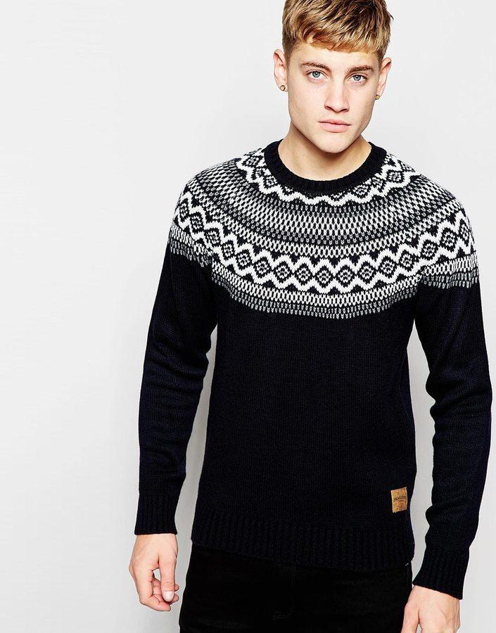 Jack and Jones Jack Jones Knitted Sweater With Fair Isle Yoke ...