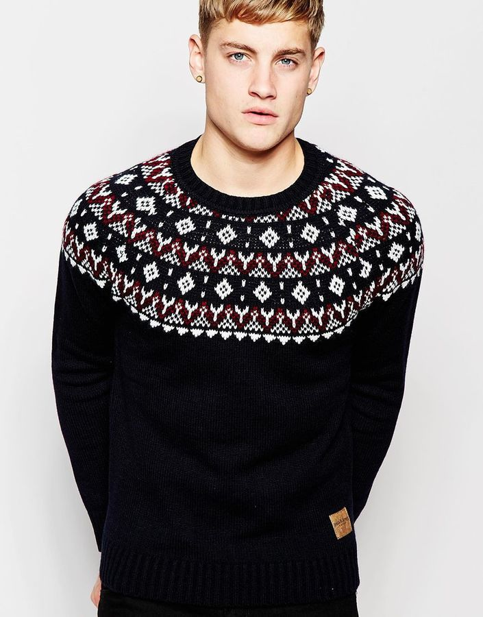 Jack and Jones Jack Jones Knitted Sweater With Holidays Fair Isle ...