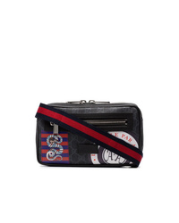 Gucci Black Night Courrier Badge Embellished Crossbody Bag