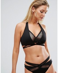 Asos Fuller Bust Scuba Fishnet Wrap Halter Bikini Top Dd G