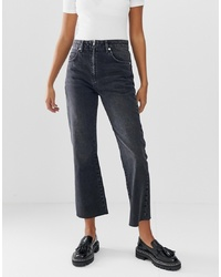 ASOS DESIGN Egerton Rigid Cropped Flare Jeans In Washed Black With Zip Fly Detail