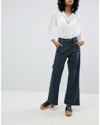 One Teaspoon High Waisted Cropped Wide Leg Jean With Contrast Stitching