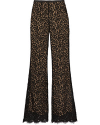 Michael Kors Michl Kors Collection Corded Cotton Blend Lace Flared Pants Black