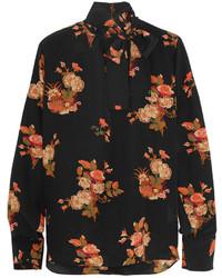 Valentino Pussy Bow Floral Print Silk Crepe De Chine Blouse Black