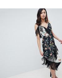 Asos Tall Asos Design Tall Fringe Cami Midi Dress In Mixed Floral Print