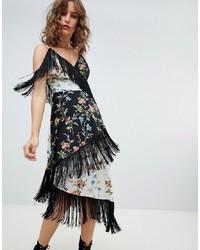 ASOS DESIGN Fringe Cami Midi Dress In Mixed Floral Print