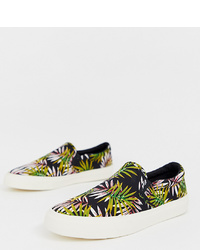 ASOS DESIGN Slip On Trainers In Tropical Floral Print