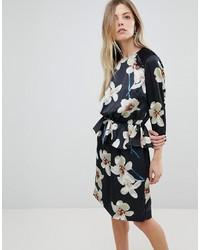 Y.a.s Satin Floral Peplum Mini Dres