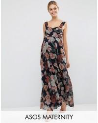 Asos Maternity Wedding Floral Chiffon Bandeau Maxi Dress