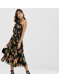 ASOS DESIGN Halter Midi Dress In Floral Print