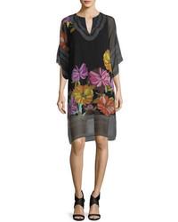 Black Floral Chiffon Shift Dress