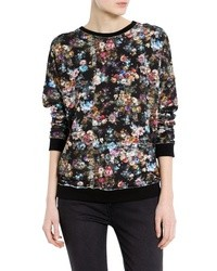 Black Floral Crew-neck Sweater