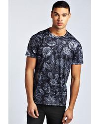 Black Floral Crew-neck T-shirt