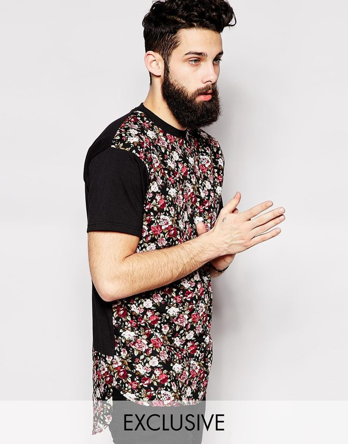 ... Reclaimed Vintage Longline T Shirt Floral Front ... 4740f91aa0b1