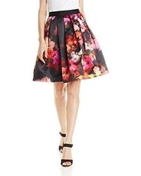 Black Floral Full Skirt