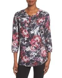 Black Floral Henley Shirt