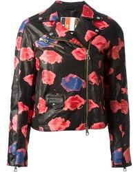 MSGM Floral Printed Biker Jacket