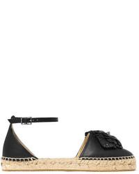 Jimmy Choo Dylan Floral Appliqud Leather Espadrilles Black