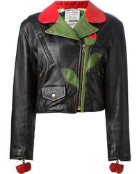Black Floral Leather Jacket