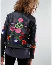 Asos Premium Leather Biker Jacket With Floral Embroidery And Stud Detail