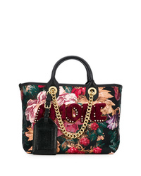 14c0524139 Women s Black Floral Leather Tote Bags by Dolce   Gabbana