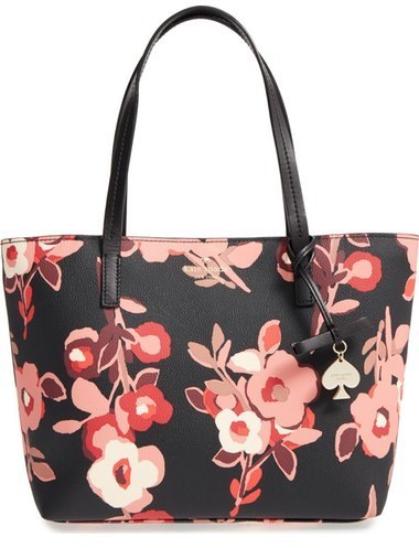 floral leather tote bag