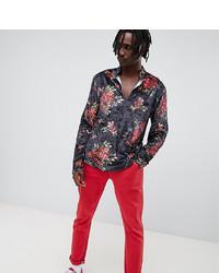 Reclaimed Vintage Inspired Floral Velvet V Neck Shirt