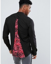Siksilk Long Sleeve Shirt In Black With Rose Panel