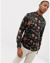 ASOS DESIGN Regular Fit Floral Satin Shirt In Black
