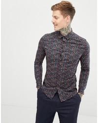ASOS DESIGN Skinny Ditsy Floral Work Shirt