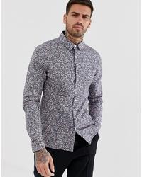 ASOS DESIGN Stretch Slim Ditsy Print Shirt