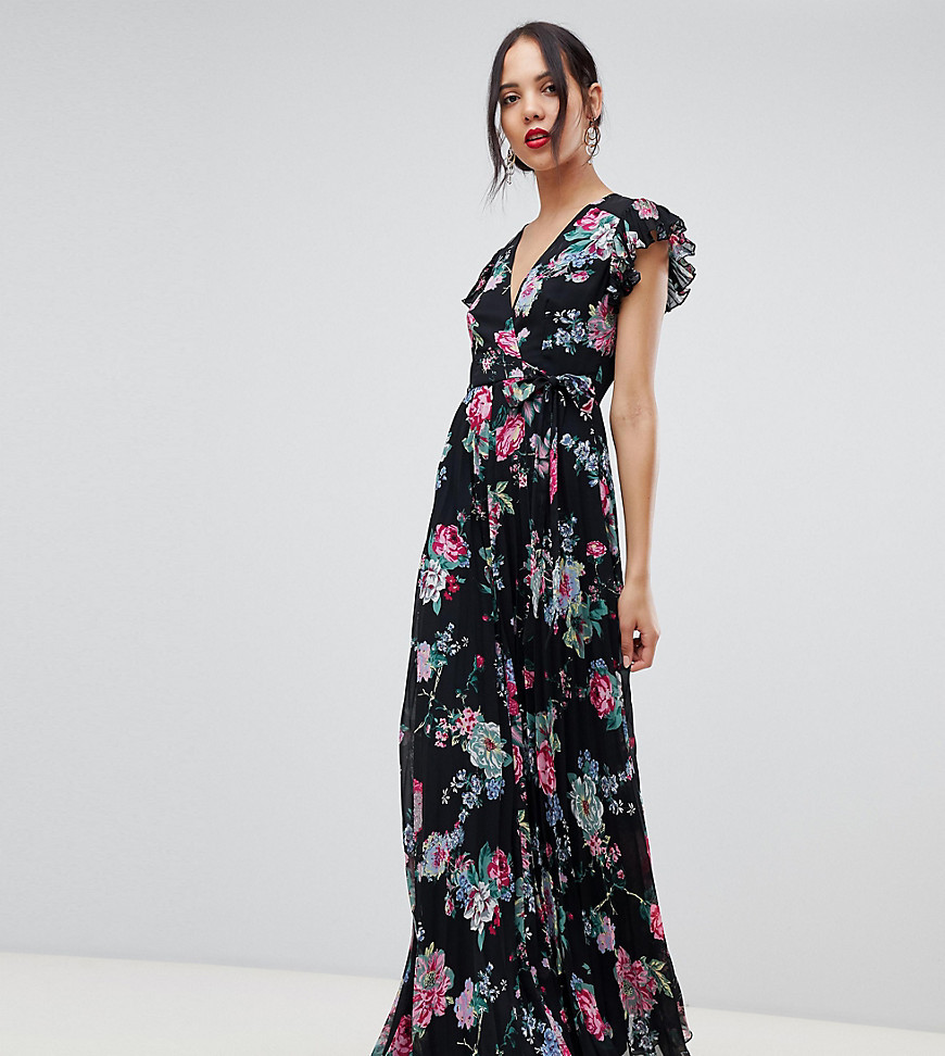 049fdb2b67a ... Asos Tall Asos Design Tall Pleated Wrap Maxi Dress Flutter Sleeve In  Floral Print