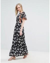 Liquorish Floral Maxi Dress With Orange Details