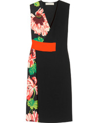 Stella McCartney Agnes Floral Print Stretch Crepe Wrap Effect Dress Black