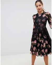 ASOS DESIGN Floral Insert Midi Dress With Long Sleeves