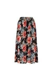 New Look Black Floral Print Crinkle Midi Skirt