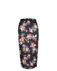 New Look Black Floral Print Midi Skirt