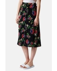 Topshop Button Front Floral Midi Skirt