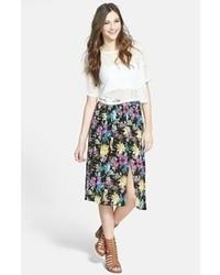 Lush Double Front Slit Midi Skirt Black Floral Small
