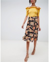 Vila Floral Midi Skirt