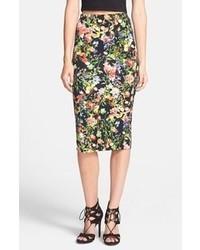 Glamorous Floral Scuba Midi Skirt