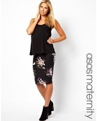Asos Maternity Midi Pencil Skirt In Vintage Floral Print