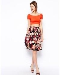 Asos Midi Skirt In Floral Rose Print