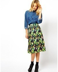 Asos Pleated Midi Skirt In Neon Floral Print