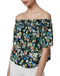 Topshop Floral Print Off The Shoulder Blouse