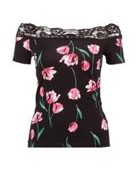 Dorothy Perkins Tulip Trim Bardot Print T Shirt Black