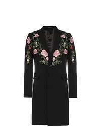 Alexander McQueen Floral Embroidered Single Breasted Wool Blend Coat