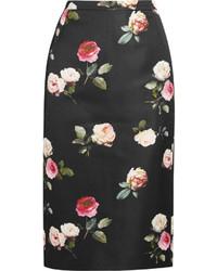 No 21 floral print duchesse satin pencil skirt medium 383474