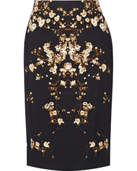 Givenchy Tubino Pencil Skirt In Printed Crepe Black
